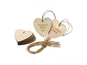 Wooden heart shaped message tags can be used to add a personal message to a coffin, casket or urn. They can be personalised by engraving, hand-writing or decorated. Available singly or in packs of 10